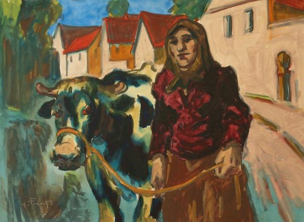 Frau mit Kuh Erich Fraaß