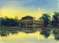 Mondaufgang am alten Hafen Halle