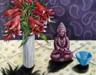 Rote Lilien mit Budda Heike Lichtenberg