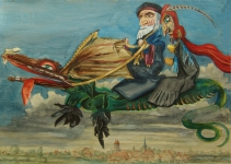 Mephisto u. Wagner auf dem Drachen über Weimar Karl Timmler