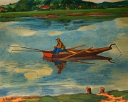 Angler im Boot auf der Berounka bei Karlstein  Erich Fraaß